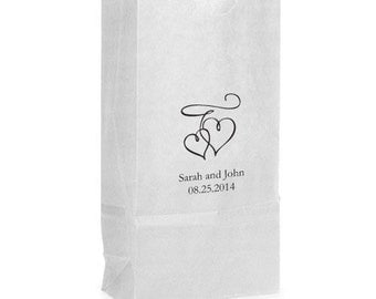 50 Double Heart Hearts Personalized Wedding Favor Bags Candy Buffet