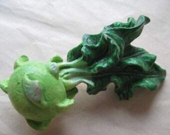 Kohlrabi Vegetable Brooch Green Resin Plastic Vintage Pin