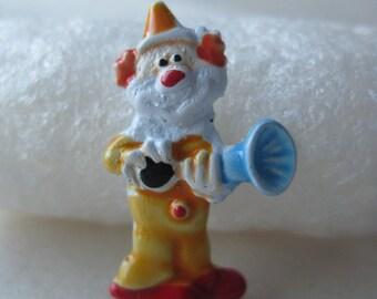 Clown Orange Red Blue Lapel Pin Tie Tack Enamel Horn Vintage Circus Clench