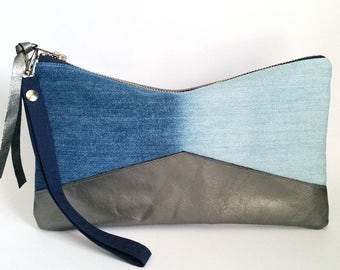 Ombre Denim Clutch. Upcycled Bleached Denim. Metallic Leather Clutch. Recycled Denim Bag. Ready To Ship.