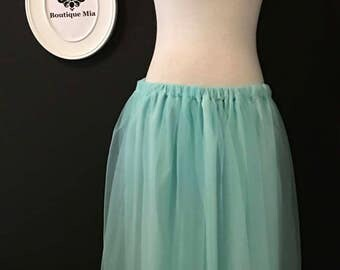 Ballerina Tulle SKIRT - Aqua / Mint  - Petite, Junior, Plus Size - Made in ANY Size - Boutique Mia