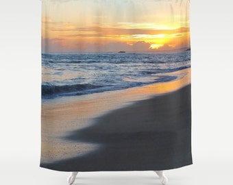 Shower Curtains, Shower Curtain Bathroom Photography Ocean Sunset Sea Photo 19 by L.Dumas