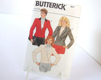 UNCUT Vintage 1980's Lined Jacket Pattern, Butterick 6071, Size 14, Bust 36 Inches