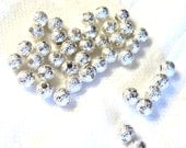 40+ Silver Stardust 4mm round metal beads, Loose, Jewelry Supplies