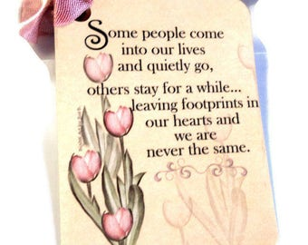 "2 Gift Tags,  ""Some People Come Into Our Lives..."", Tan Pink Green, Bridal Shower Tags, Special Friend Tags, Sentiment Gift Tags"