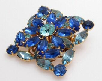 Blue Rhinestone Brooch Layered Vintage Square Navette Jewelry P7644