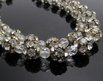 Rhinestone Necklace Vintage Double Strand Crystal Choker Jewelry N7651