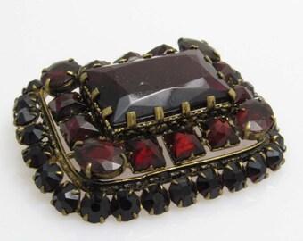 Vintage Czech Garnet Rhinestone Brooch Brass Jewelry P7713