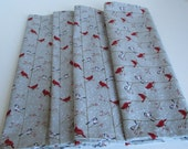 Everyday Cloth Napkins Cotton 16 x 16 inches square holiday christmas winter cardinals chickadees gray