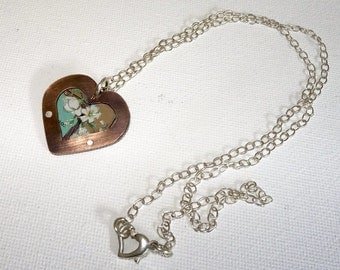Upcycled, Recycled, Repurposed, Vintage Tin And Copper Heart Pendant, 10th Wedding Anniversary, Valentine's day