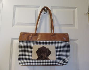 Clever Carriage Company brown leather and black checkerboard tote with needlepoint labrador retriever- purse, handbag, FREE SHIPPING