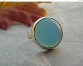 Bezel ring - Blue ring - Round ring - Chalcedony ring - Round stone ring - Gemstone ring - Sterling ring - Gift for her