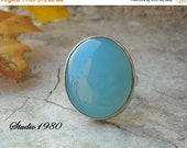 Bold ring - Aqua ring - Chalcedony ring - Oval ring - Round ring - Gemstone ring - Size 8 & more - Gift for her