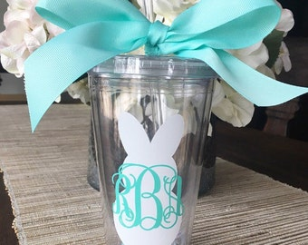 Personalized 16oz Clear Tumbler Cup // Easter Bunny Monogram