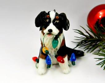 Bernese Mountain Dog Christmas Ornament Figurine Lights Porcelain