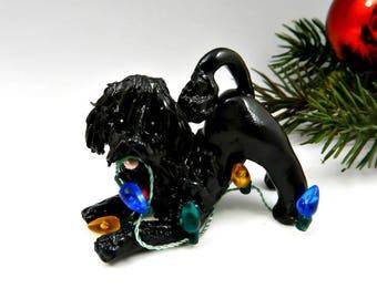 Portuguese Water Dog Black Christmas Ornament Figurine Lights Porcelain