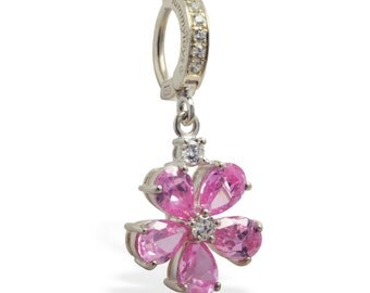 NEW Pink and Clear Cz Gem Flower Charm Sterling Silver Clear Cz Belly Button Ring by TummyToys (69120)