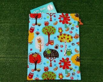 Owls aqua drawstring storage bag, medium size toy bag, activity bag, craft bag