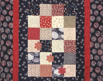 Patchwork Quilt - blue and red Japanese Blossoms