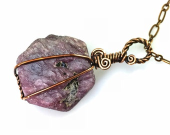 Raw Ruby Crystal Pendant Necklace:  Healing Rough Pink-Purple Corundum Gemstone Wire-Wrapped, Hypoallergenic Nickel Free Copper, Adjustable