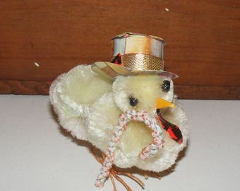 Vintage Big Pom Pom Chenille Chick wearing Top Hat and Cane Wire Feet