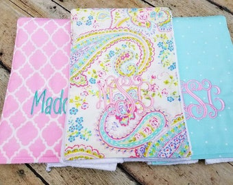 Monogrammed Burp Cloth, Baby Gift Set of 3, Personalized  Burp Cloths, Girl Burp Cloth, Pink and Aqua, Paisley, Floral