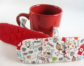 Hot Holders Microwave Oven Finger Mitts - Going to the Dogs, Puppies, Red, White, Magnetic Pot Holders, Microwave Pot Holder, Mini Mitt