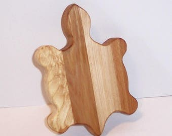 Mini Turtle Cutting Board Handcrafted from Mixed Hardwoods