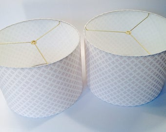 Lamp shade gray white fabric drum shade