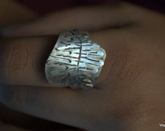 Fern leaf silver ring handmade artisan silver jewelry Eco friendly sustainable Fair trade nature