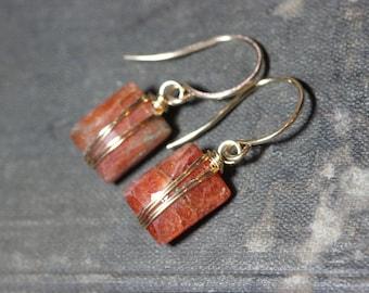 Sunstone Earrings Gold Wire Wrapped Gemstone Earrings Orange Earrings Luxe Rustic Jewelry