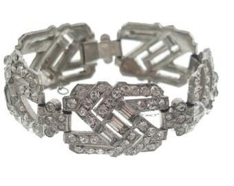 Vintage Art Deco Bracelet, Original 1920s Antique Jewelry Wedding, Wide Rhinestone Link, Fine Antique Statement Jewelry