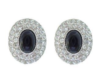 Vintage Rhinestone Earrings, Oval Onyx Crystal 1950s Clip On Statement Jewelry, Vintage Jewellery