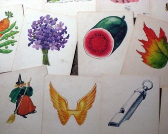 50 Vintage  Phonics Picture Flash Cards -  for Altered Art, Collage, etc.