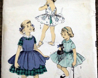 1950s Sewing Pattern Advance #7754; Girls' Size 6; Dress with contrast collar and reversible pinafore; PATTERN IS COMPLETE