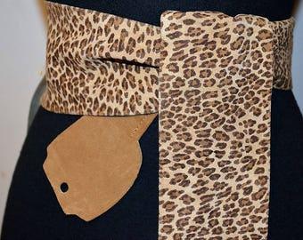 80s 90s Vintage Deadstock belt by elegant. Leopard Chetah Print Leather Suede Cinch Belt. Wide with chamois sash cinch belt.