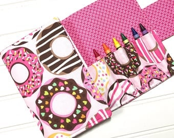 Donuts gift, Gift for girl, Crayon storage, Crayon case, Coloring book, Drawing pad, Travel wallet, Doughnut wallet, Pink wallet, Kids toy