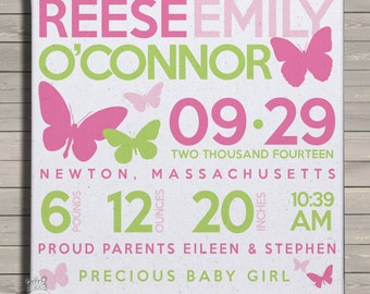 Birth announcement print on canvas butterfly birth announcement poster on wood frame