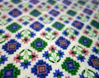 Floral Quilting Fabric, 2.7 Yds of Lightweight White Cotton Fabric with Scandinavian Style Blue and Green Squares, and Pink and Blue Flowers
