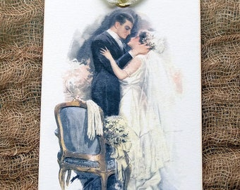 The Kiss Vintage Syle Bride & Groom Wedding Shower Favor or Wish Tree Gfit or Scrapbook Tags #359