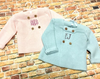Infant Cardigan, Monogrammed Baby Sweater, Baby Shower Gift, New Baby Keepsake