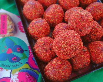 NEW Manacoco: raw vegan energy balls with mango, pineapple and red berries. Organic and no gluten or refined sugar