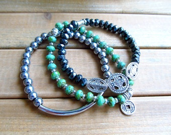 3 Stackable Bracelets, Turquoise Jewelry, Hematite Gemstone, Beaded Bar Bracelet, Green, Black, Silver, Chinese Coin, Bali Style Gift  Her