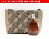 40% Off Regular Price! Black Geometric Large Linen Pencil Case - Christmas Gift for Men