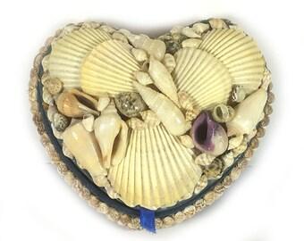 Vintage Shell Encrusted Heart Shaped Trinket Box - Blue Felt Lining