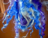Handspun Tailspun Curly Leicester Longwool Locks in Royal Blue and Violet Art Yarn by KnoxFarmFiber for Knitting Weaving Embellishment