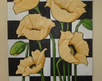 YELLOW POPPY Painting - 18x24 inch deep edge canvas - Original Floral Art - Golden Yellow Poppy Painting - Flower Art