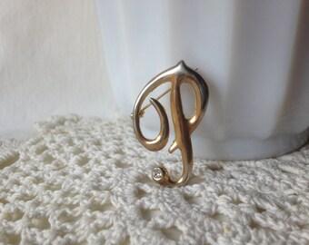 Vintage Initial Pin Rhinestone Initial Brooch P Brooch