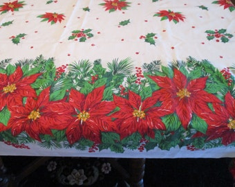"""1970s  Very Long Christmas Tablecloth, Flawless, Homemade, Cotton, Brilliant Poinsettias, 94"""" long x 69"""" wide, Nice for a Grand Size Table"""