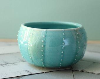 aqua sea urchin bowl, porcelain